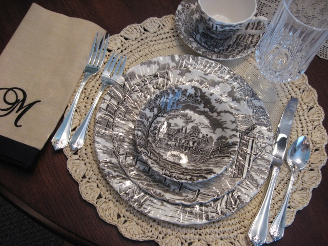 Brown transferware setting