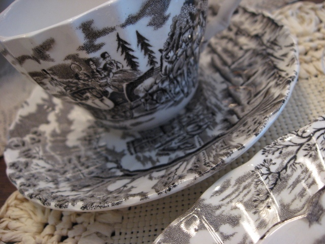 Brown transferware cup